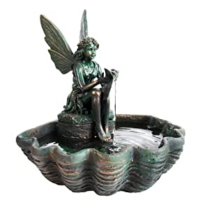 Mini Fairy On Clamshell Solar Water Feature