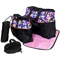 Baby Station 5pcs/set Baby Diaper Bag Nappy Mummy Bag Doted Maternity Handbag (Pink)