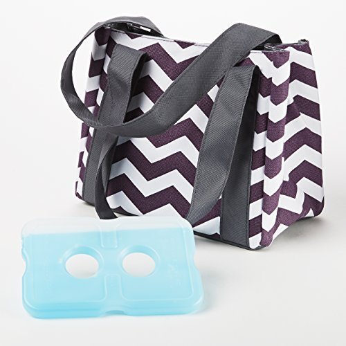fit-fresh-ladies-venice-insulated-lunch-bag-with-reusable-ice-pack-magnetic-closure-plum-white-chevr