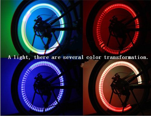 2PCS Colorful LED Automatic change color Flash Tyre Wheel Valve Cap Light for Car Bike bicycle Motorbicycle Wheel Light Tire Light