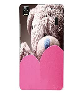 ColourCraft Teddy and Heart Design Back Case Cover for LENOVO A7000 TURBO