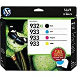 HP 932XL/933 High Yield Black and Standard C/M/Y Color Ink Cartridges, (D8J69FN#140) w/Media Value Kit 4/Pack
