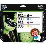 HP 932XL/933 High Yield Black and Standard C/M/Y Color Ink Cartridges, (D8J69FN#140) w/Media Value Kit 4/Pack