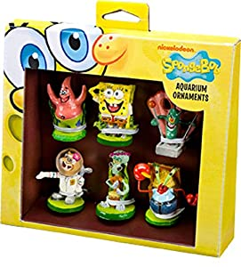 Spongebob Squarepants 6 Pc Mini Resin Ornaments for Aquariums
