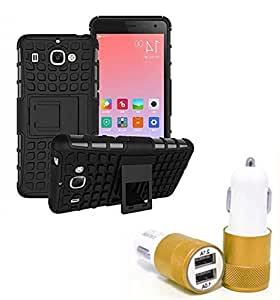 Droit Shock Proof Protective Bumper back case with Flip Kick Stand for Samsung S7 + Car Charger With 2 Fast Charging USB Ports by Droit Store.