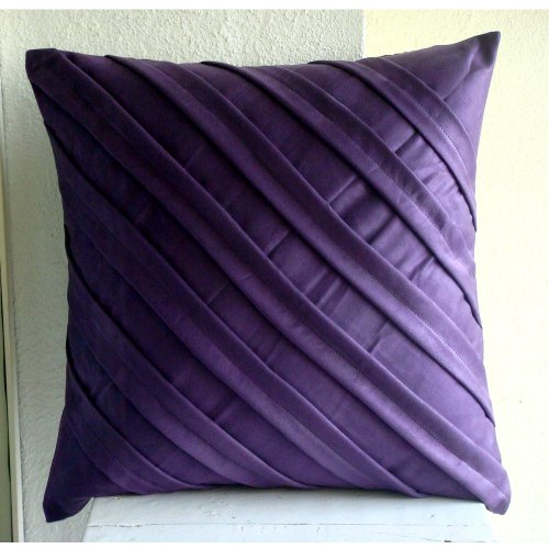 Contemporary Purple - 26X26 Inches Square Decorative Throw Purple Suede Euro Sham Covers With Pintucks front-801176