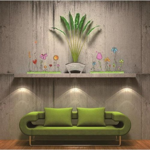Garden Flowers Wall Stickers Decor Living Room Decal