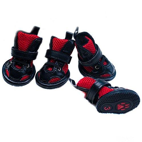 Artikelbild: Semoss 4 Set Hunde Zubehör Atmungsaktiv Netz Haustier Schuhe Hunde Schuhe Pfotenschutz Boots Rot Hunde Stiefel Anti Rutsch für Haustier und Hunde,Größe:L,4.8 x 3.7 cm (L x B)