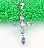 Everbling Amethyst Cross Pendant Swarovski Elements Crystal Rhodium Plated 925 Sterling Silver with 18