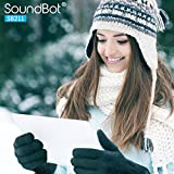 SoundBot¨ SB211 Smart Texting Touch Gloves for Smartphones & Touchscreen w/ Premium Soft Material, High-Tech Conductive Fingertips & Stretchable Material for Maximum Fitness-Medium (BLK)