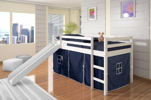 Ideal Twin Tent Loft with Slide and Slat Kits in White with Blue Tent