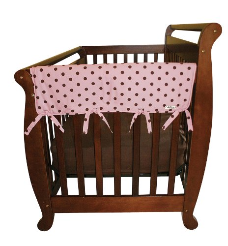 "Trend Lab Cotton CribWrap Rail Covers for Crib Sides (Set of 2), Pink with Brown Dot, Wide for Crib Rails Measuring up to 18"" Around!"