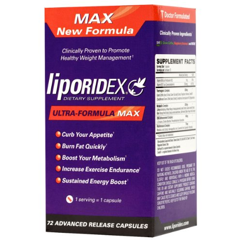 liporidex Liporidex MAX w/ Green Coffee - Ultra Formula Thermogenic Weight Loss Supplement Fat Burner Metabolism Booster & Appetite Suppressant - The easy way to lose weight fast! - 72 diet pills - 1 Box.