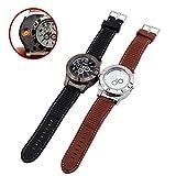 Rechargeable USB Lighter Watches Clock Electronic Men Casual Quartz Wristwatches Highend Gift Box Windproof Cigarette Lighter (Black) (Color: Black)
