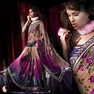 Shaded Net Lehenga Embroidery Sari