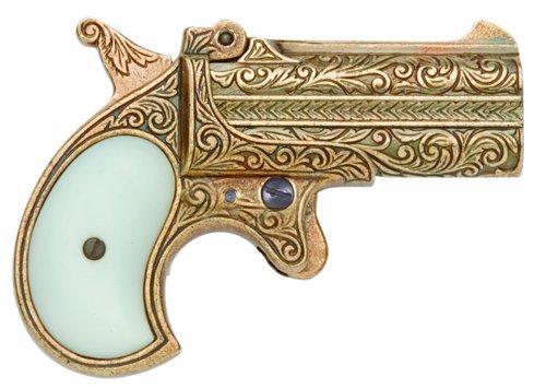 Denix Old West Replica 1866, Brass Double Barrel Derringer Non Firing Gun (Gun Replica Non Firing compare prices)