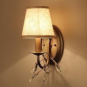 Bedside lamp crystal lamps emulation copper bedroom living room wall lamp transit corridor wall paper light Jane Europe by BZDLOLI