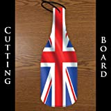 Wine Bottle Shaped Glass Cutting Board – England Flag (4.5″ x 12″)