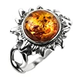 Baltic Honey Amber and Sterling Silver Medium Flaming Sun Ring Sizes 5,6,7,8,9,10,11,12