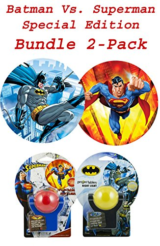 DC Comics Collectors Eddition Batman and Superman LED Night Light Projectables (Batman Vs. Superman Bundle 2 Pack)