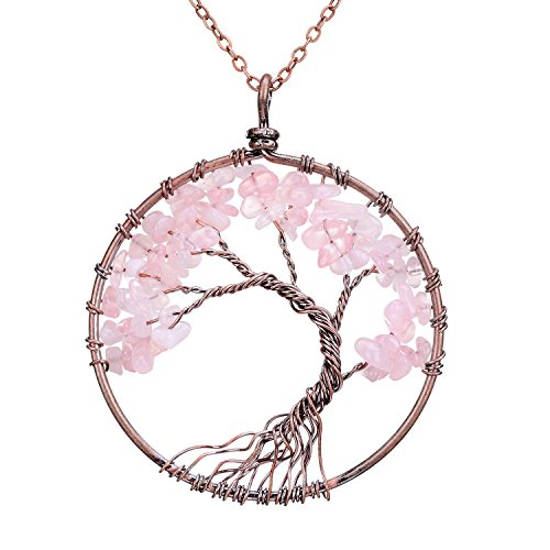 Rose Quartz Tree of Life Pendant Wisdomtree Pink Gemstone Necklace Chakra Healing Jewelry