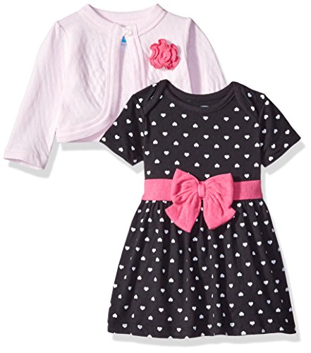 BON BEBE Girls' 2 Piece Dress and Cardigan Set, Hearts, 6-9 Months