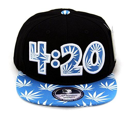 Cap2shoes-Marijuana-Weed-Leaf-Cannabis-Snapback-Hat-Cap-420Aqua