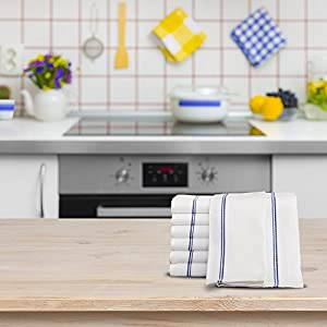 Kitchen-Restaurant-Hotel Dish-Cloth Tea Towels - 12 Pack, White with Blue Side Stripe, 100% Cotton with Herringbone Weave, Professional Quality, Highly Absorbent (20 inch by 30 inch) by Utopia Kitchen