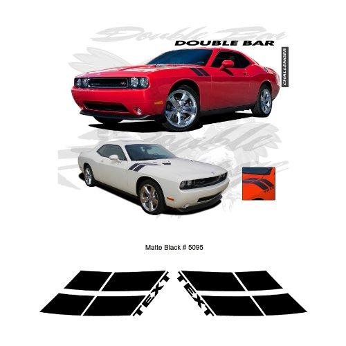 Dodge Challenger Rt 2010 Up Matte Black Fender Double Bar Stripes Graphic Kit