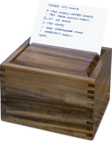 Ironwood Gourmet Acacia Wood Secret Recipe Box