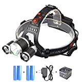 The Revenant 4 Modes Super Bright 3 CREE XM-L T6 LED Headlamp with Rechargeable Batteries, Waterproof & Lightweight Camping Outdoor Sports Headlight