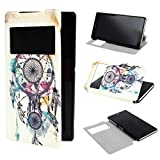 ivencase View Window Painting Art Dream Catcher Style Design PU Leather Flip Stand Case Cover for Sony Xperia Z2