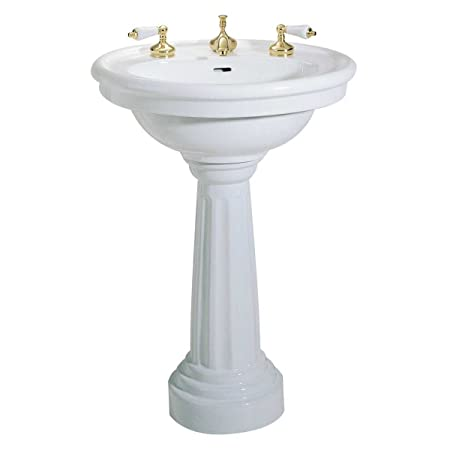"Large White Pedestal Sink Grade A Vitreous China Open Back 12"" Widespread Faucet (NOT INCLUDED) Backsplash Rim Authentic Renovator's Supply Logo Reno-Gloss Finish Scratch And Stain Resistant Easy Clean Easy Install 32-1/4"" Height X 26-1/8"""