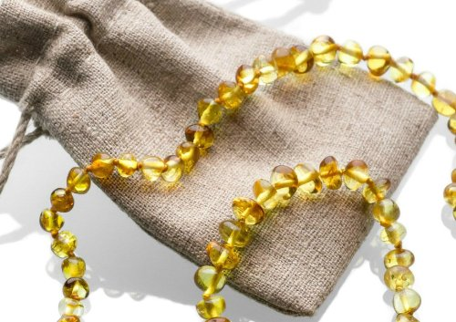Amber Teething Necklace and Amber Teething Bracelet/Anklet in a Linen Pouch. Natural Teething Remedy, Substitute for Teething Tablets. Great Addition to a Baby Teether and Soother. Perfect As a Baby Shower Gift. Fulfilled By Amazon USA. from Amber Teethin