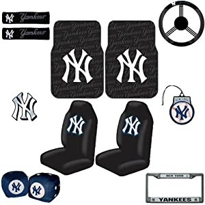 York Yankees 12 pc Ultimate Fan Auto Accessories Interior/Exterior Combo Kit Gift Set from LA Auto Gear