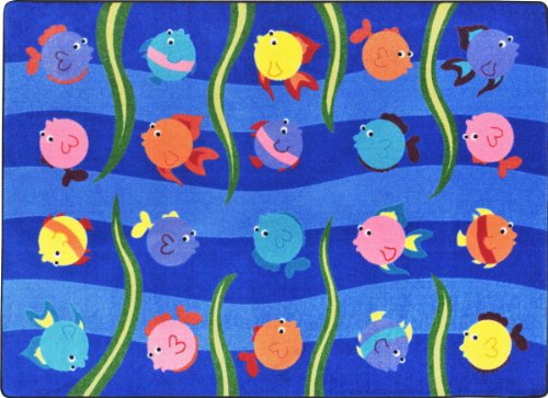 "Joy Carpets Kid Essentials Infants & Toddlers Friendly Fish Rug, Multicolored, 10'9"" x 13'2"""