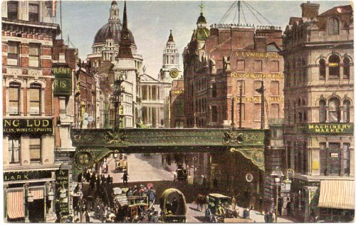 1905 Vintage Postcard Street Scene and St. Paul's