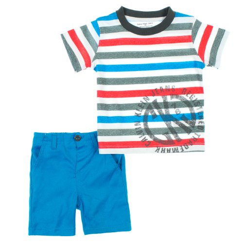 Calvin Klein Baby-Boys Infant Blue Crew Neck Stripes Tee With Short, Orange, 12 Months