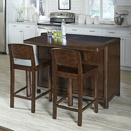 Home Styles Furniture Crescent Hill Kitchen Island With Granite Top And 2 Stools Carts Islands