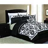 Victoria Classics Daniella 8-Piece Flocked Comforter Set, Black/White, Queen