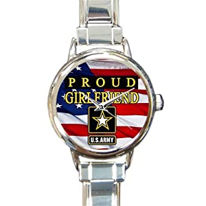 Special Design Military Proud US Army Girlfriend and American Flag Round Italian Charm Watch