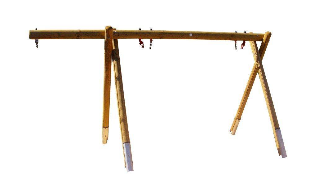 b+t H4650-Kos-220-SU Vogelnest-Schaukelgestell / aus Kiefer/ Höhe: 220cm / inkl. Stahlanker, Schaukellager + Überstand / ohne Schaukelsitz