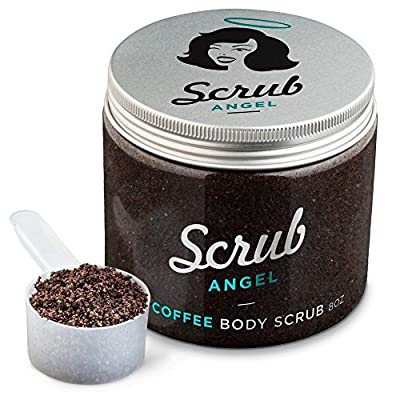Scrub Angel Organic Arabica Coffee Body Scrub 8oz. An exfoliator that leaves Skin Smooth and Soft while Reducing Cellulite, 100% Natural Treatment