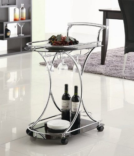 Serving Cart with Black Glass Shelves in Chrome Metal Frame