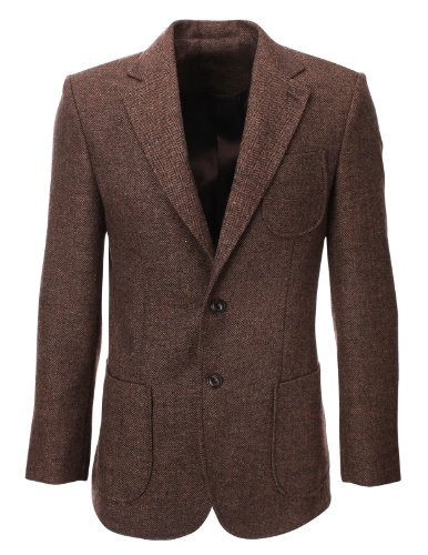 FLATSEVEN-Mens-Herringbone-Wool-Blazer-Jacket-with-Elbow-Patches