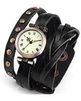 AMPM24 Montre Quartz Vintage Style Bracelet Cuir Rivet Retro Noir WAA340