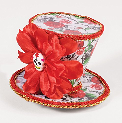 Day of the Dead Red Floral Mini Top Hat