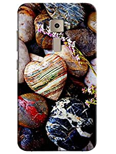 Omnam Heart With Stones Effect Printed Designer Back Cover Case For Asus Zenfone 3 ZE552KL