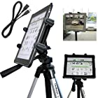 ChargerCity Vibration-Free 7 to 12 inch Screen Tablet Tripod Video Camera Photo Booth Mount with 1/4-20 Thread Adapter & 360° Degrees Angle Adjustment Holder for Apple iPad 4 5 Air MINI Samsung Galaxy 7.7 8 10.1 12 Note S Microsoft Surface Pro Slate. **Bundle also included a 10' FT USB Extension Cable** (IPAD & Tripod is not included with purchase)