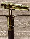 Wood Cane Telescope Walking Stick Hidden Spy Brass Telescope Handle